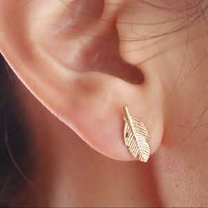 New Adorable Dainty Leaf Gold Plated Earrings